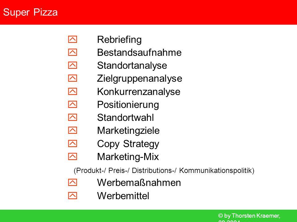 © by Thorsten Kraemer, 09.2004 Super Pizza Rebriefing Bestandsaufnahme Standortanalyse Zielgruppenanalyse Konkurrenzanalyse Positionierung Standortwah