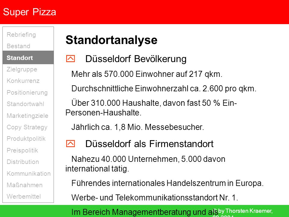 © by Thorsten Kraemer, 09.2004 Super Pizza Rebriefing Bestand Standort Zielgruppe Konkurrenz Positionierung Standortwahl Marketingziele Copy Strategy Produktpolitik Preispolitik Distribution Kommunikation Maßnahmen Werbemittel Distributionspolitik Interne Logistik Zentrale Vorproduktion.