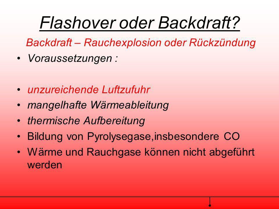 Flashover oder Backdraft? Flashover – Rauchdurchzündung oder Feuersprung Verlauf Vereinfacht Entstehungsbrand Rauch und Wärmebildung Thermische Aufber