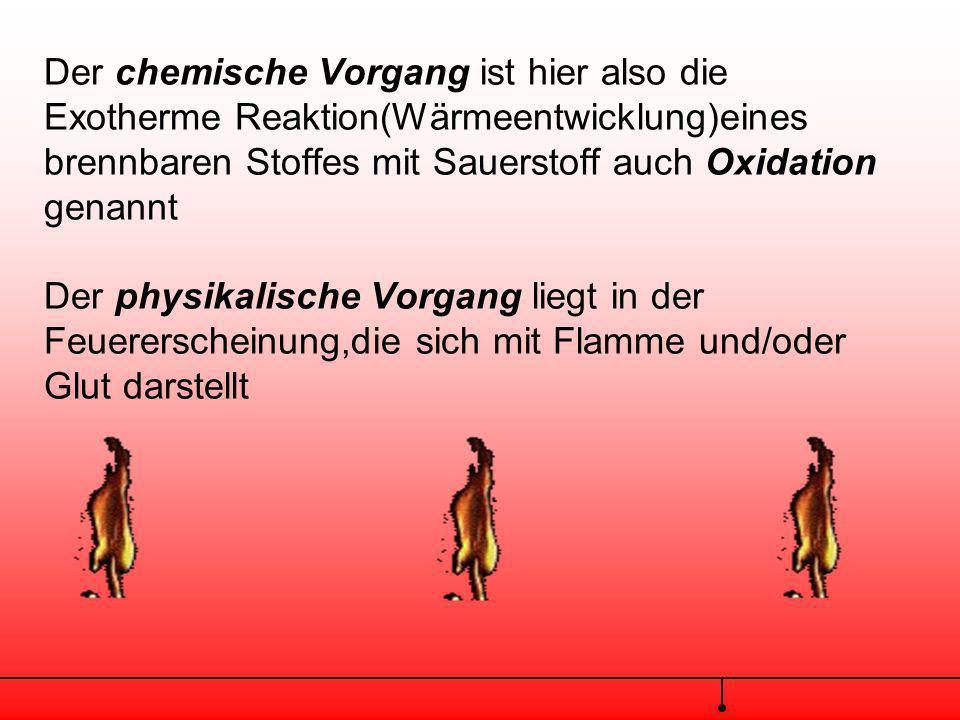 Für beide Arten des Brennens,oder allgemein der Verbrennung gilt,dass die chemischen und physikalischen Voraussetzungen und Begleiterscheinungen gleic