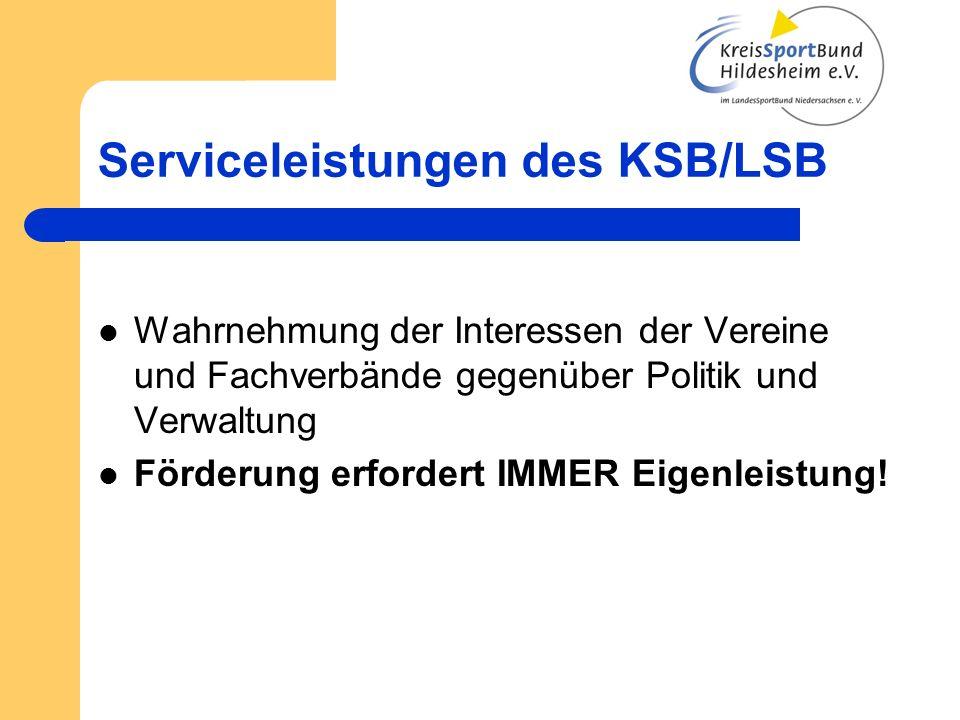 Serviceleistungen des KSB/LSB Wahrnehmung der Interessen der Vereine und Fachverbände gegenüber Politik und Verwaltung Förderung erfordert IMMER Eigen