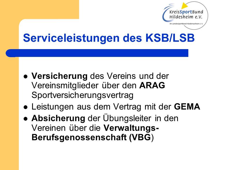 Versicherung des Vereins und der Vereinsmitglieder über den ARAG Sportversicherungsvertrag Leistungen aus dem Vertrag mit der GEMA Absicherung der Übu