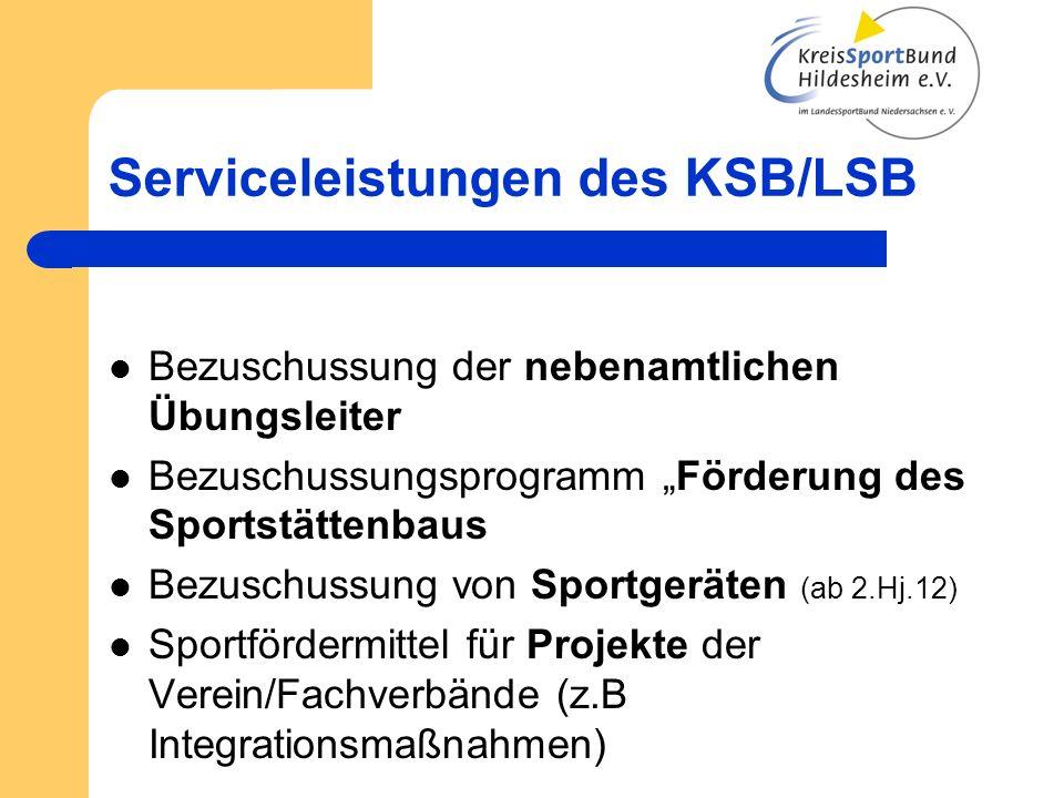 Serviceleistungen des KSB/LSB Bezuschussung der nebenamtlichen Übungsleiter Bezuschussungsprogramm Förderung des Sportstättenbaus Bezuschussung von Sp