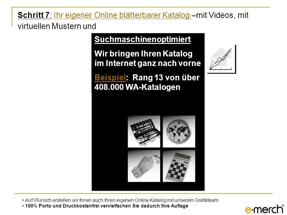 Schritt 7: Ihr eigener Online blätterbarer Katalog –mit Videos, mit virtuellen Mustern undIhr eigener Online blätterbarer Katalog Auf Wunsch erstellen