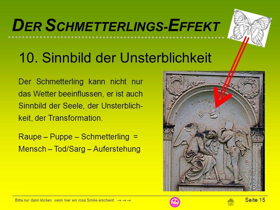 D ER S CHMETTERLINGS- E FFEKT Bitte nur dann klicken, wenn hier ein rosa Smilie erscheint. Seite 14 Eine Internet-Seite verspricht ein Schmetterlings-