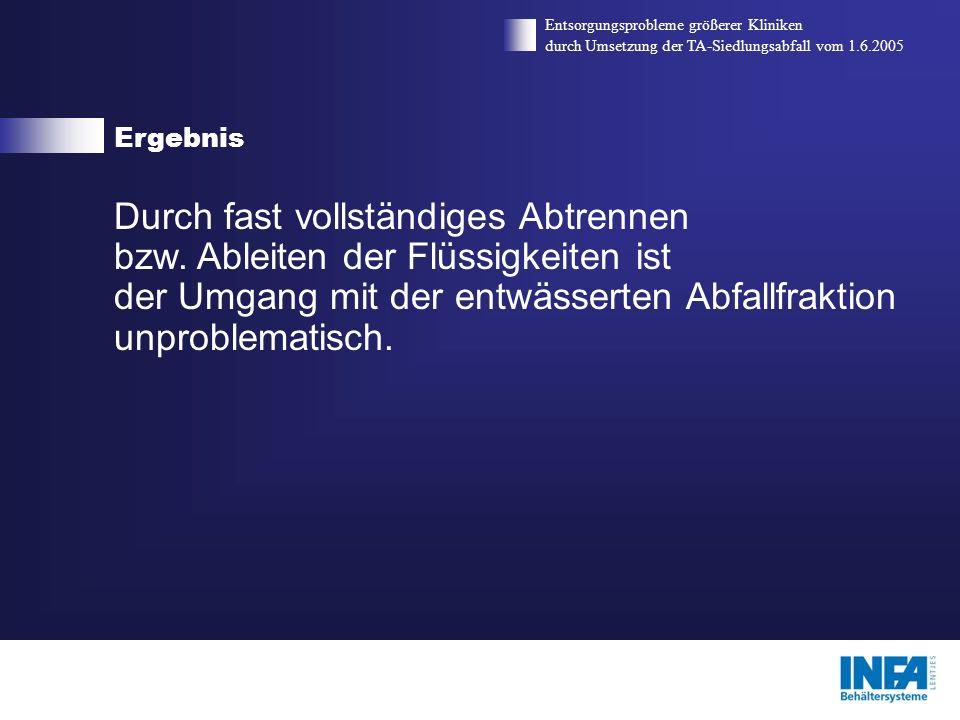 Ergebnis Entsorgungsprobleme größerer Kliniken durch Umsetzung der TA-Siedlungsabfall vom 1.6.2005 Durch fast vollständiges Abtrennen bzw. Ableiten de