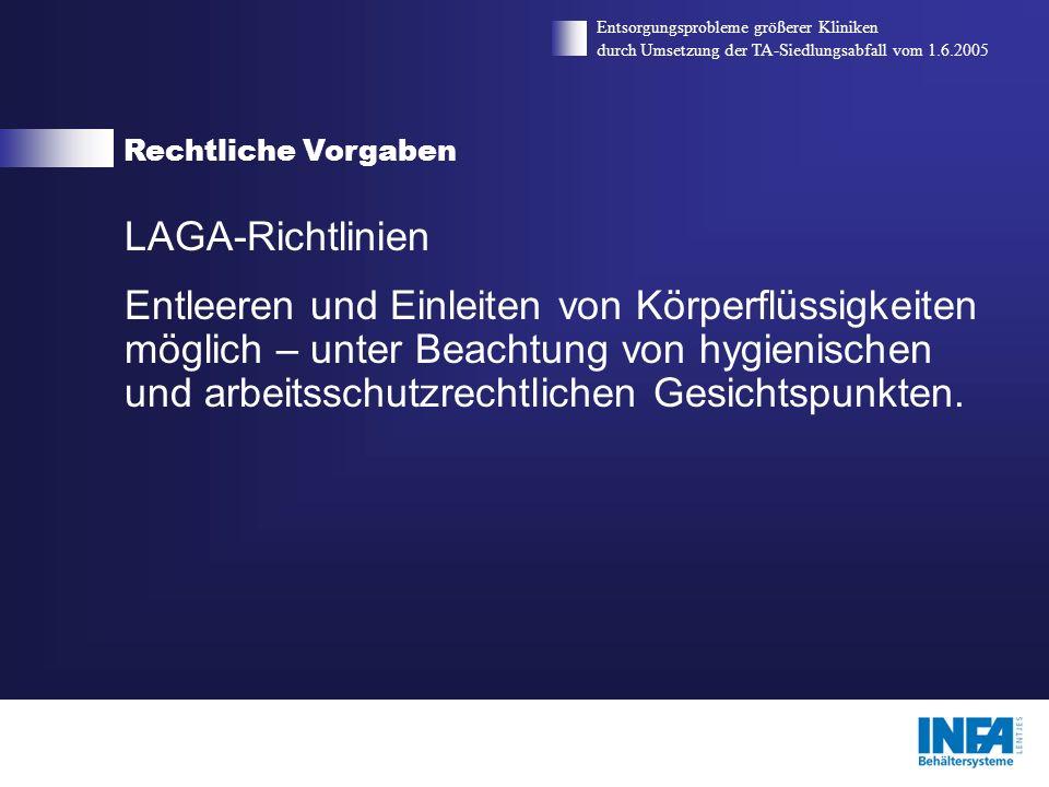 Rechtliche Vorgaben Entsorgungsprobleme größerer Kliniken durch Umsetzung der TA-Siedlungsabfall vom 1.6.2005 LAGA-Richtlinien Entleeren und Einleiten