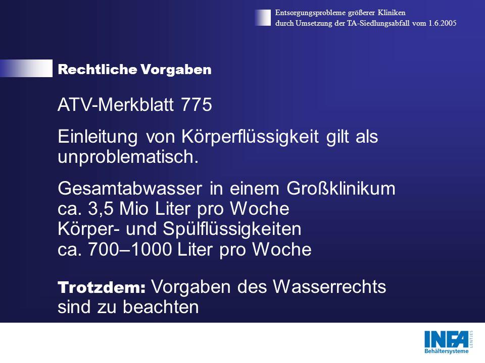 Rechtliche Vorgaben Entsorgungsprobleme größerer Kliniken durch Umsetzung der TA-Siedlungsabfall vom 1.6.2005 ATV-Merkblatt 775 Einleitung von Körperf