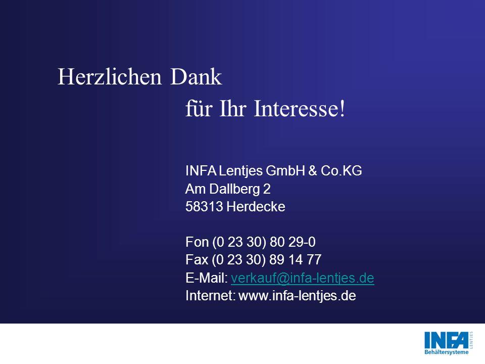 Herzlichen Dank für Ihr Interesse! INFA Lentjes GmbH & Co.KG Am Dallberg 2 58313 Herdecke Fon (0 23 30) 80 29-0 Fax (0 23 30) 89 14 77 E-Mail: verkauf