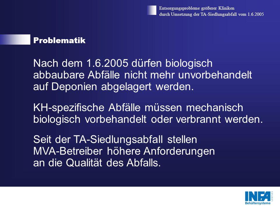 Problematik Entsorgungsprobleme größerer Kliniken durch Umsetzung der TA-Siedlungsabfall vom 1.6.2005 Besondere Problematik des AS 18 01 04 ist der hohe Flüssigkeitsanteil.