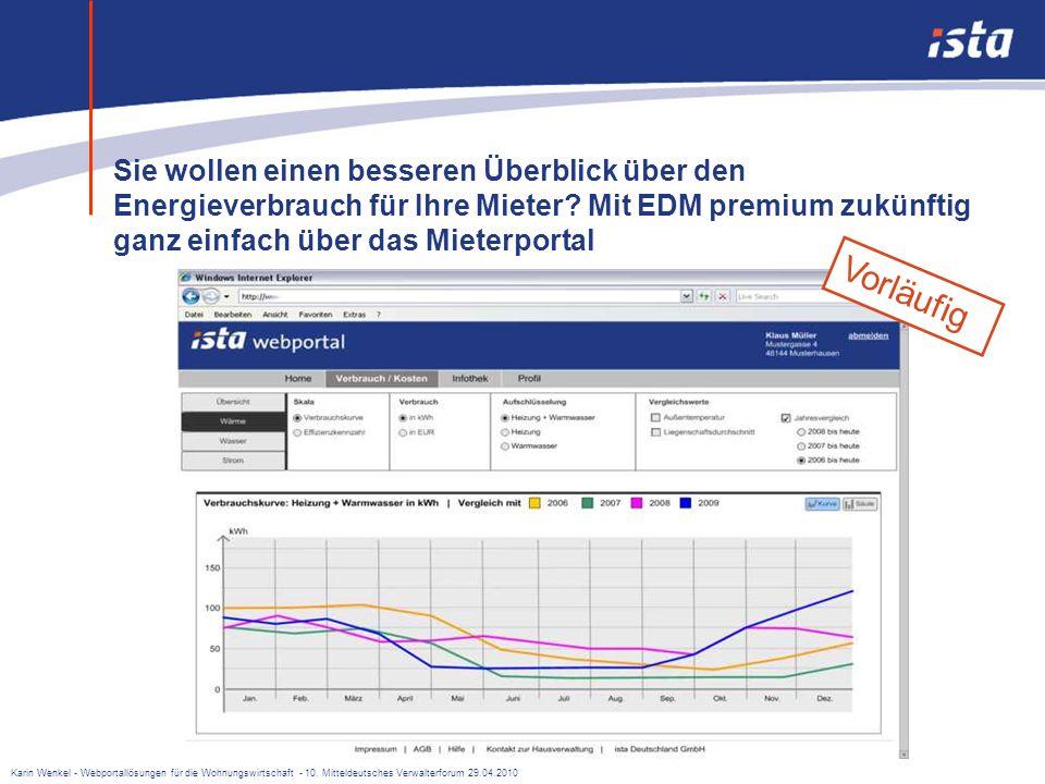 Karin Wenkel - Webportallösungen für die Wohnungswirtschaft - 10. Mitteldeutsches Verwalterforum 29.04.2010 Beispiele für ein Mieterportal