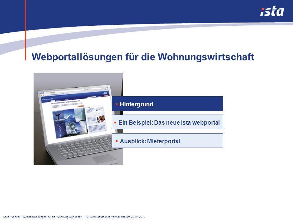 Webportal-Lösungen für die Wohnungswirtschaft Karin Wenkel, Produktmanagerin Dienstleistung 10. Mitteldeutsches Verwalterforum Leipzig, 29.04.2010