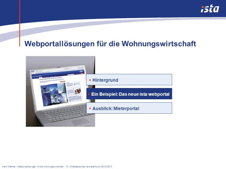 Karin Wenkel - Webportallösungen für die Wohnungswirtschaft - 10. Mitteldeutsches Verwalterforum 29.04.2010 Welche Vorteile bietet ein Webportal? n Vo