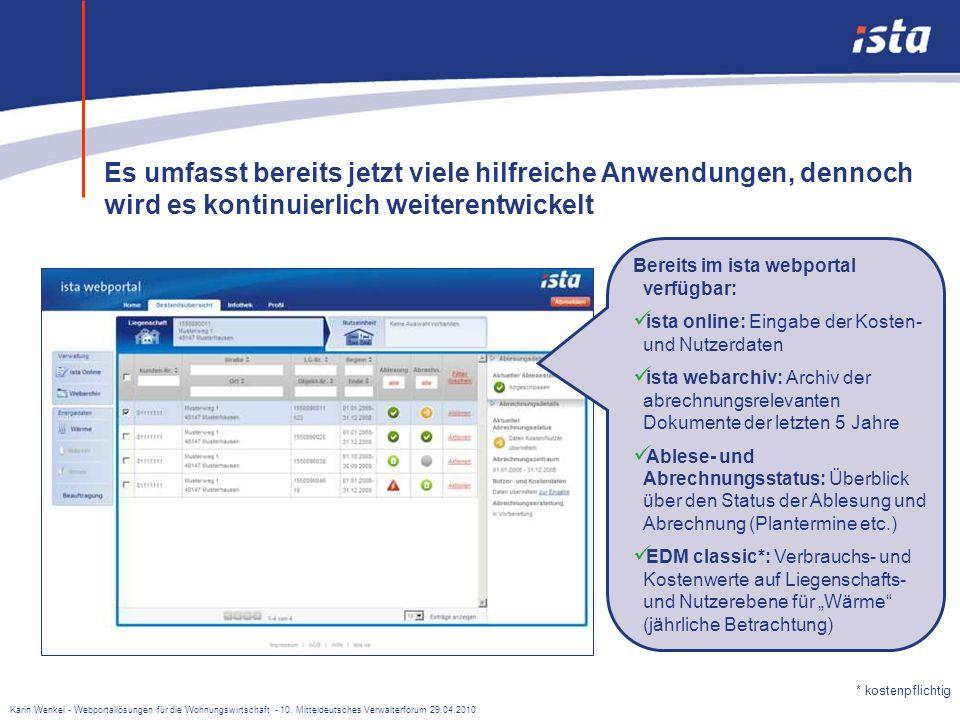 Karin Wenkel - Webportallösungen für die Wohnungswirtschaft - 10. Mitteldeutsches Verwalterforum 29.04.2010 In Zusammenarbeit mit Kunden entstand Ende