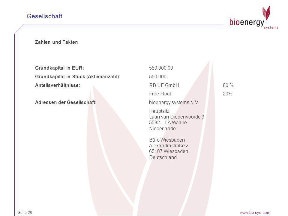 www.be-sys.comSeite 20 Gesellschaft Zahlen und Fakten Grundkapital in EUR:550.000,00 Grundkapital in Stück (Aktienanzahl):550.000 Anteilsverhältnisse: