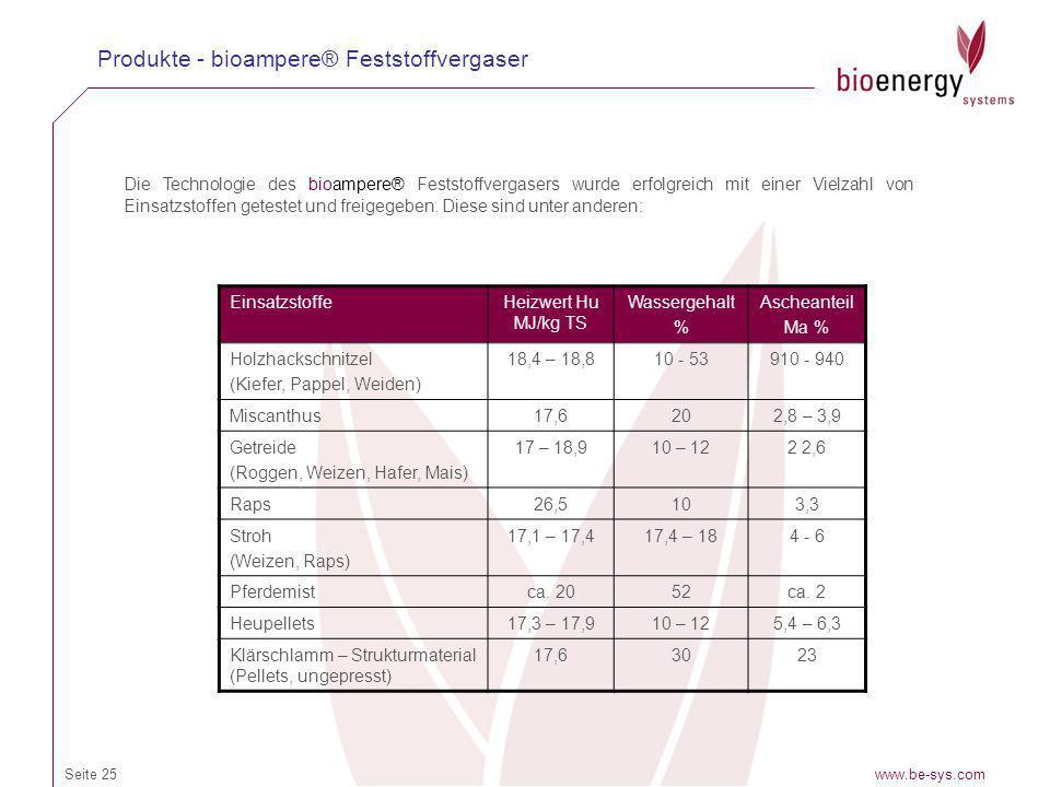 www.be-sys.comSeite 25 Produkte - bioampere® Feststoffvergaser Die Technologie des bioampere® Feststoffvergasers wurde erfolgreich mit einer Vielzahl