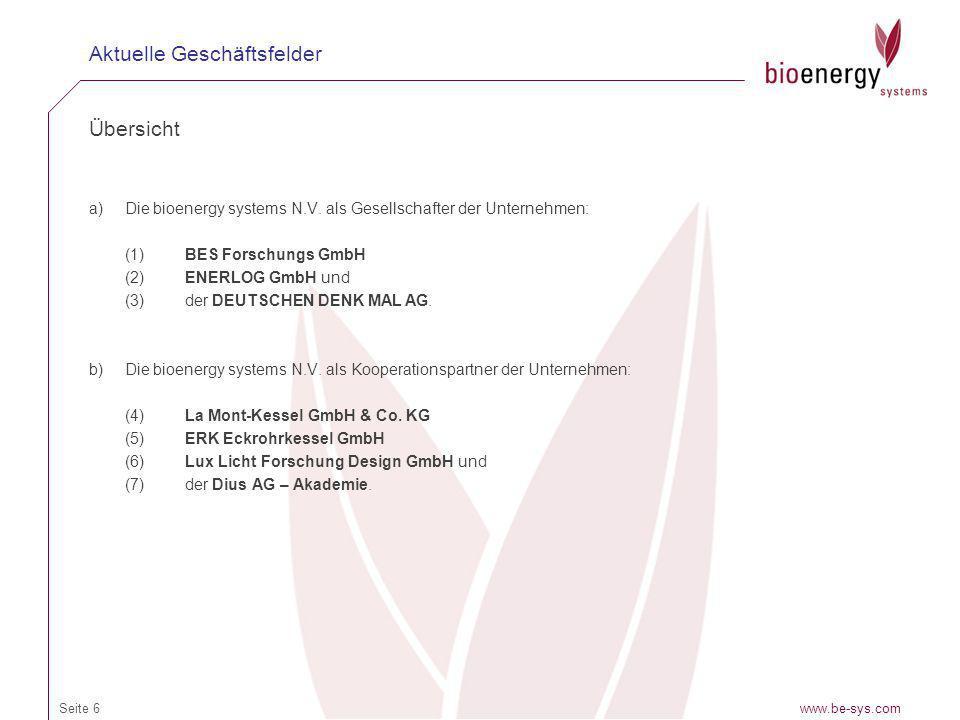 Übersicht a)Die bioenergy systems N.V. als Gesellschafter der Unternehmen: (1) BES Forschungs GmbH (2)ENERLOG GmbH und (3)der DEUTSCHEN DENK MAL AG. b
