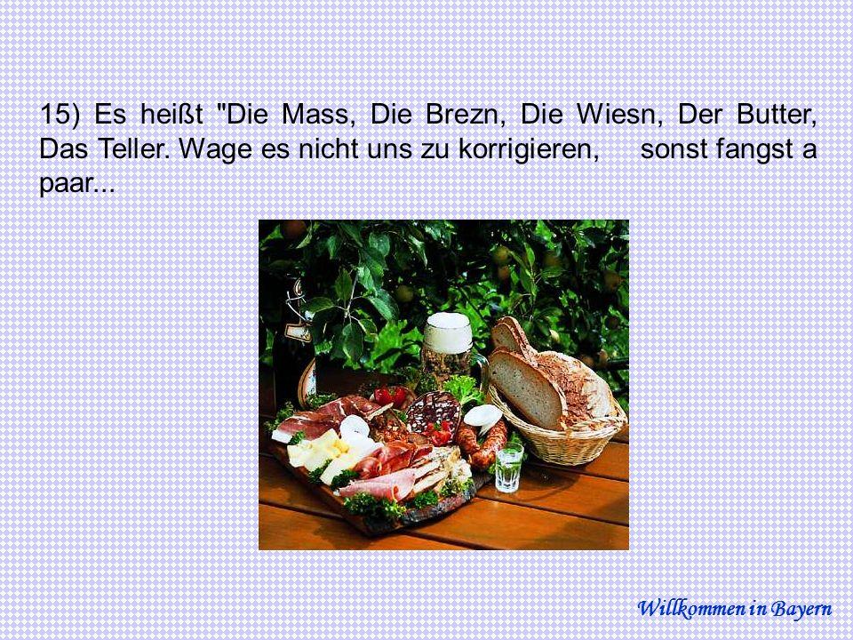 15) Es heißt Die Mass, Die Brezn, Die Wiesn, Der Butter, Das Teller.