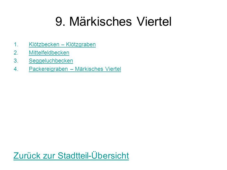 9. Märkisches Viertel 1.Klötzbecken – KlötzgrabenKlötzbecken – Klötzgraben 2.MittelfeldbeckenMittelfeldbecken 3.SeggeluchbeckenSeggeluchbecken 4.Packe