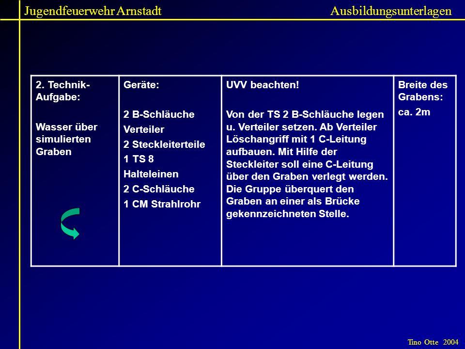 Jugendfeuerwehr Arnstadt Tino Otte 2004 Ausbildungsunterlagen 2. Technik- Aufgabe: Wasser über simulierten Graben Geräte: 2 B-Schläuche Verteiler 2 St