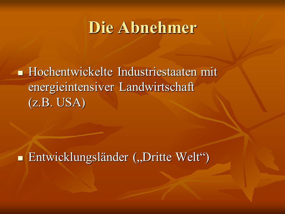 Die Abnehmer Hochentwickelte Industriestaaten mit energieintensiver Landwirtschaft (z.B. USA) Hochentwickelte Industriestaaten mit energieintensiver L