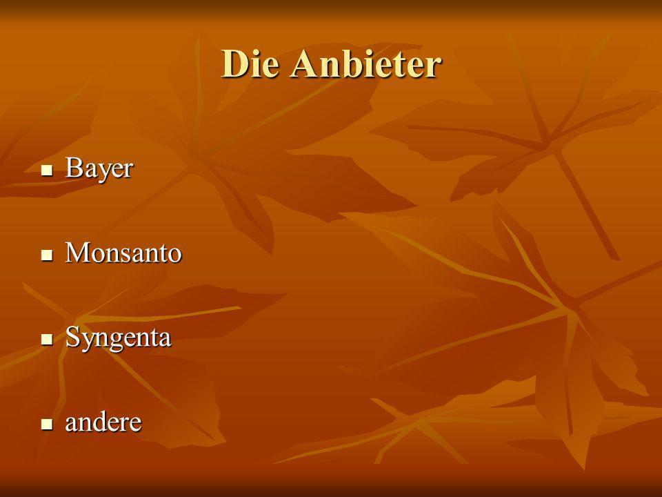 Die Anbieter Bayer Bayer Monsanto Monsanto Syngenta Syngenta andere andere
