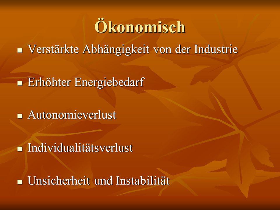 Ökonomisch Verstärkte Abhängigkeit von der Industrie Verstärkte Abhängigkeit von der Industrie Erhöhter Energiebedarf Erhöhter Energiebedarf Autonomie