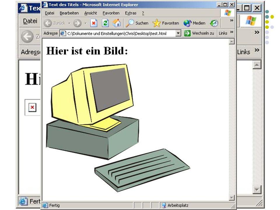 BODY Inhalt: Grafiken einbinden Grafiken werden auch referenziert Am besten eignen sich GIF und JPEG Bilder werden mit den Standalone Tag eingebunden.