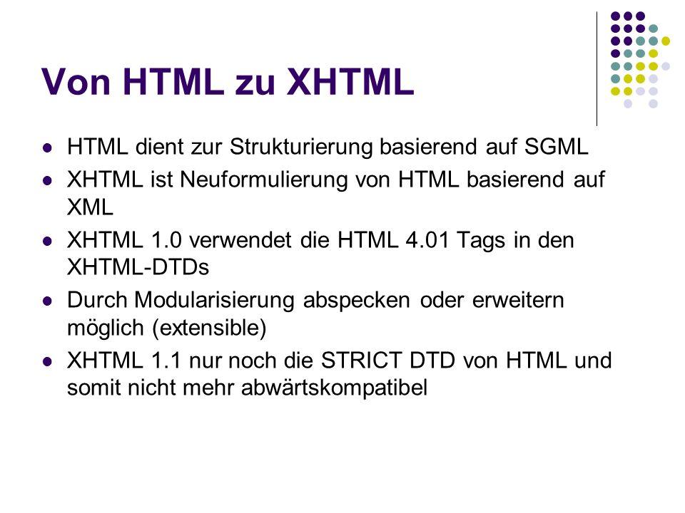 Von HTML zu XHTML HTML dient zur Strukturierung basierend auf SGML XHTML ist Neuformulierung von HTML basierend auf XML XHTML 1.0 verwendet die HTML 4