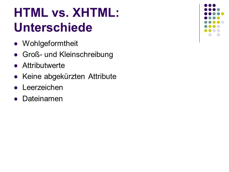 HTML vs. XHTML: Unterschiede Wohlgeformtheit Groß- und Kleinschreibung Attributwerte Keine abgekürzten Attribute Leerzeichen Dateinamen