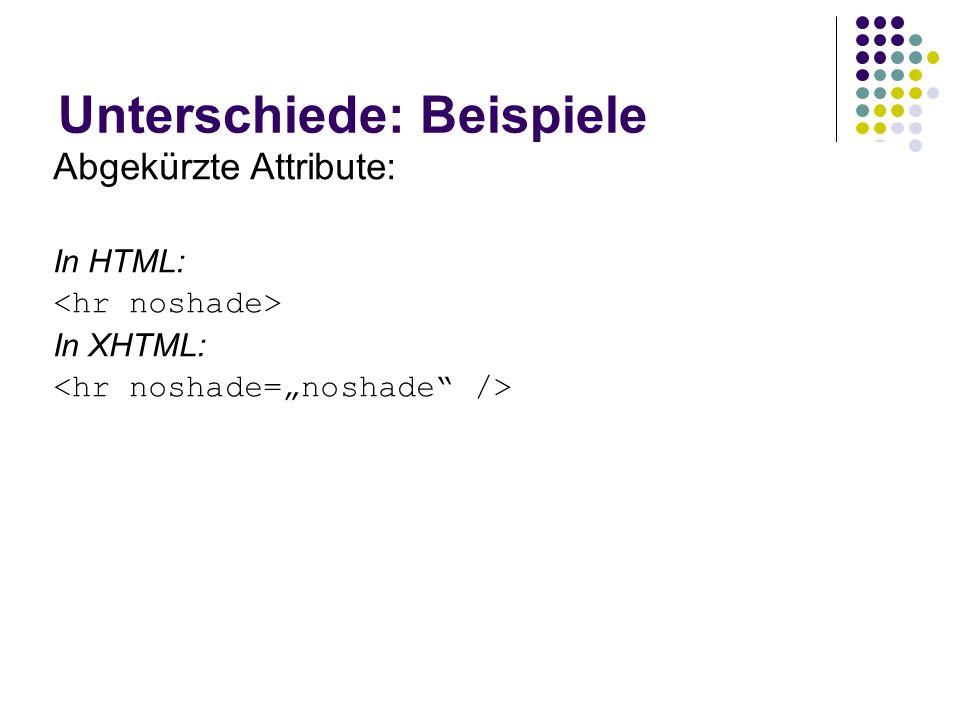 Unterschiede: Beispiele Wohlgeformt: In HTML toleriert: text text2 In XHTML: text text2 In HTML: Absatz noch einer In XHTML: Absatz noch einer Leere E
