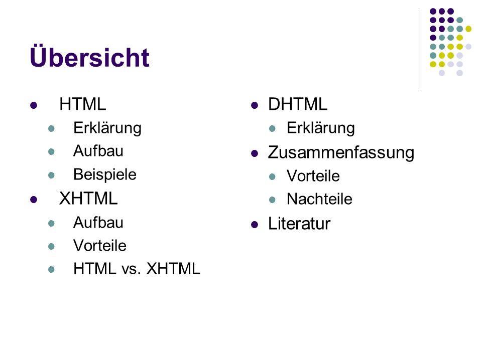 Übersicht HTML Erklärung Aufbau Beispiele XHTML Aufbau Vorteile HTML vs. XHTML DHTML Erklärung Zusammenfassung Vorteile Nachteile Literatur