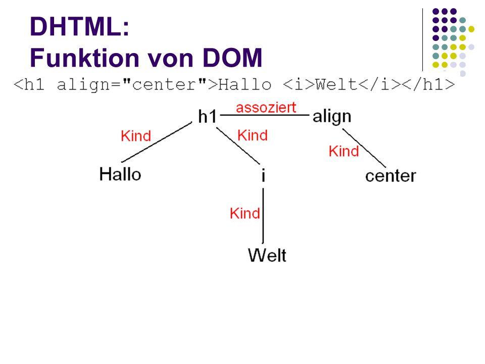DHTML: Funktion von DOM Sprache als Baumstruktur darstellbar Zentrales Objekt von DOM ist node Elementknoten, Attributknoten, Textknoten Knoten lassen