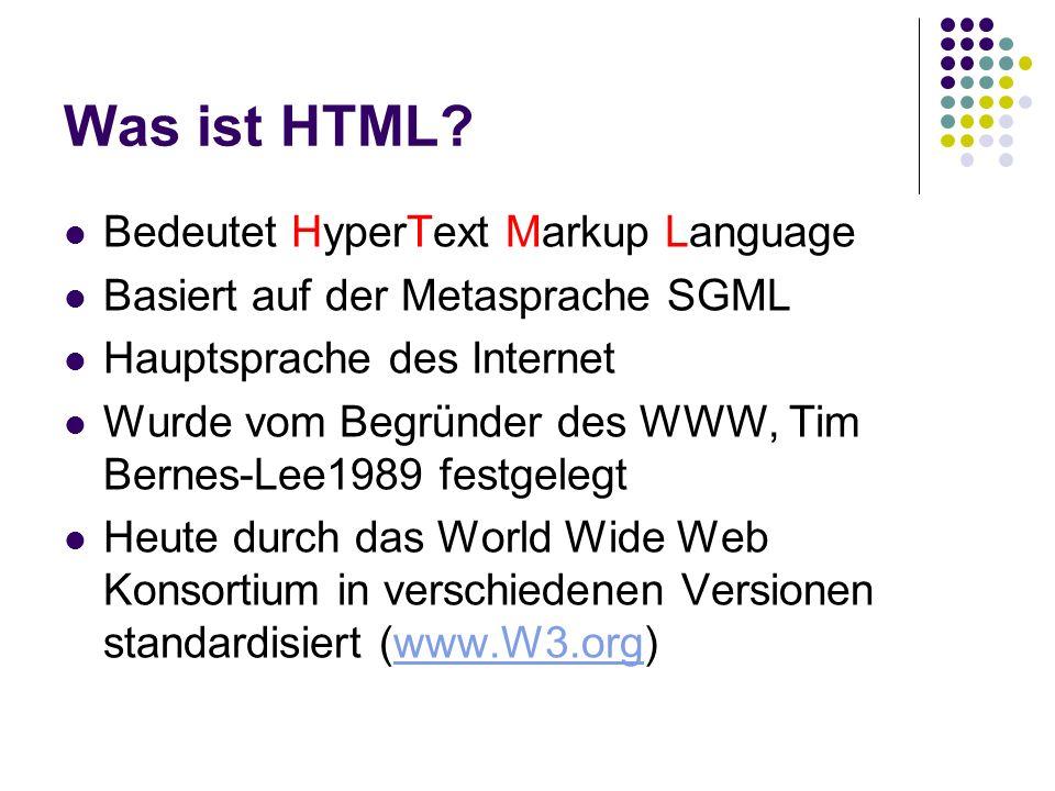 Was ist HTML? Bedeutet HyperText Markup Language Basiert auf der Metasprache SGML Hauptsprache des Internet Wurde vom Begründer des WWW, Tim Bernes-Le