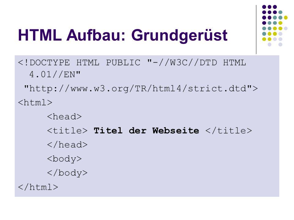 HTML Aufbau: Grundgerüst <!DOCTYPE HTML PUBLIC