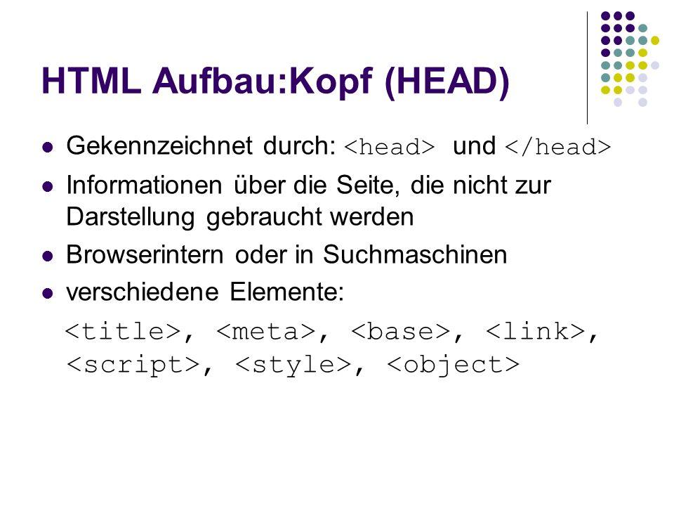 HTML Aufbau:Kopf (HEAD) Gekennzeichnet durch: und Informationen über die Seite, die nicht zur Darstellung gebraucht werden Browserintern oder in Suchm