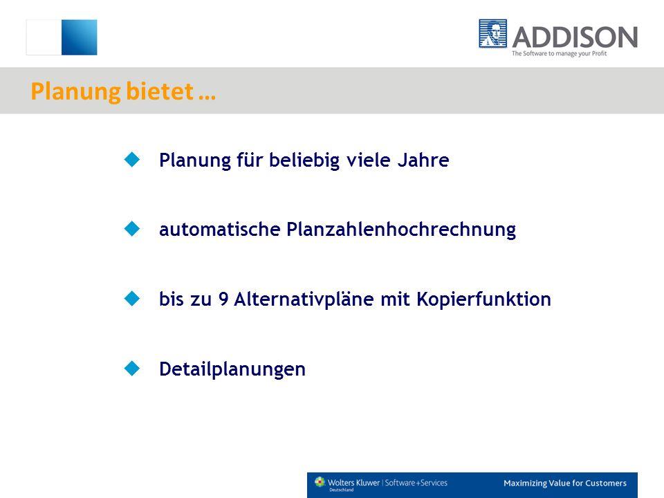 Planung für beliebig viele Jahre automatische Planzahlenhochrechnung bis zu 9 Alternativpläne mit Kopierfunktion Detailplanungen Planung bietet …