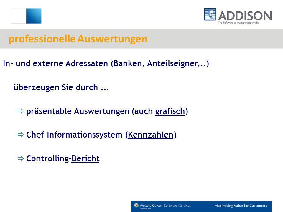 In- und externe Adressaten (Banken, Anteilseigner,..) überzeugen Sie durch... präsentable Auswertungen (auch grafisch) Chef-Informationssystem (Kennza