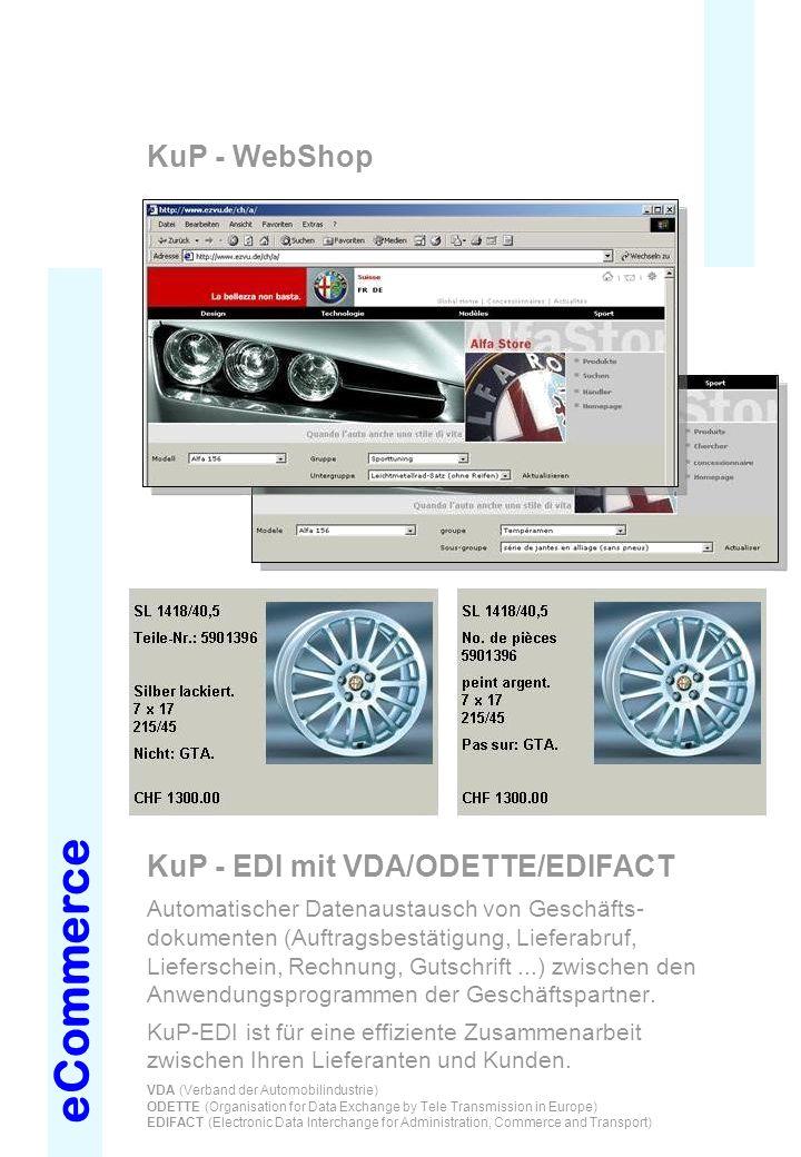 eCommerce KuP - WebShop KuP - EDI mit VDA/ODETTE/EDIFACT Automatischer Datenaustausch von Geschäfts- dokumenten (Auftragsbestätigung, Lieferabruf, Lie