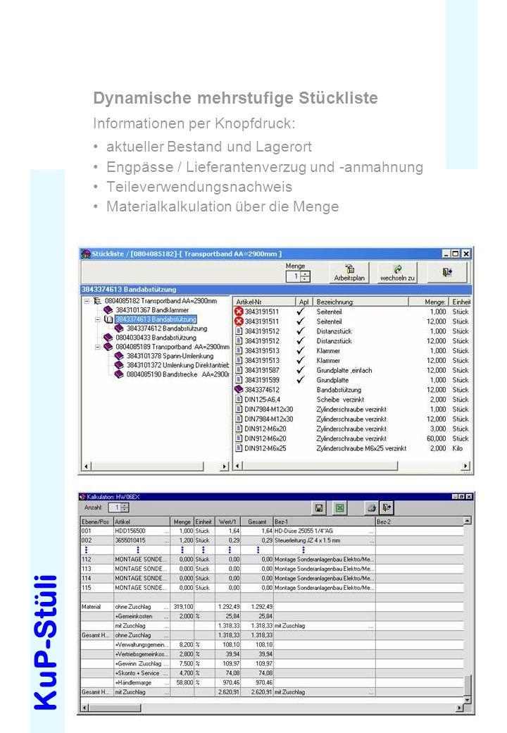 KuP-Stüli Dynamische mehrstufige Stückliste Informationen per Knopfdruck: aktueller Bestand und Lagerort Engpässe / Lieferantenverzug und -anmahnung T