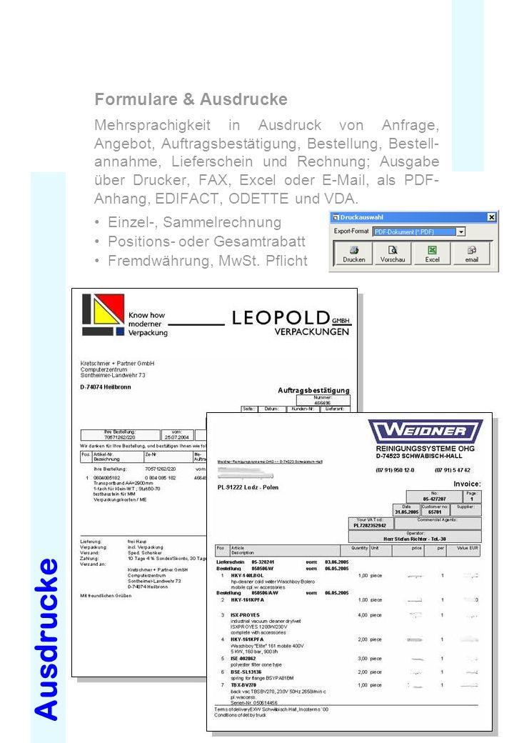 Ausdrucke Formulare & Ausdrucke Mehrsprachigkeit in Ausdruck von Anfrage, Angebot, Auftragsbestätigung, Bestellung, Bestell- annahme, Lieferschein und