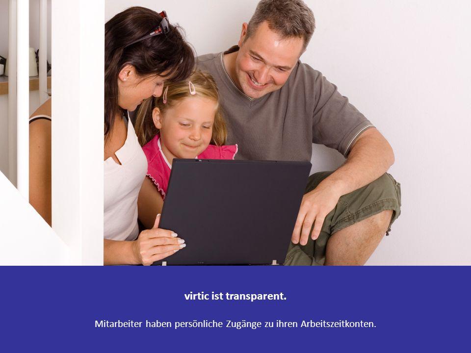 virtic ist transparent. Mitarbeiter haben persönliche Zugänge zu ihren Arbeitszeitkonten.