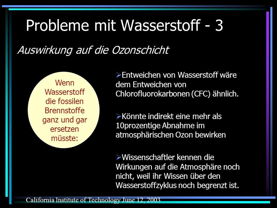 Probleme mit Wasserstoff - 3 Entweichen von Wasserstoff wäre dem Entweichen von Chlorofluorokarbonen (CFC) ähnlich. Könnte indirekt eine mehr als 10pr
