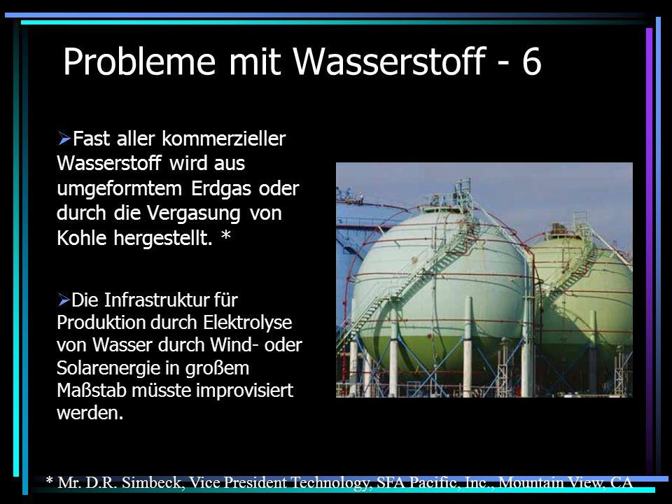 Probleme mit Wasserstoff - 6 Fast aller kommerzieller Wasserstoff wird aus umgeformtem Erdgas oder durch die Vergasung von Kohle hergestellt. * Die In
