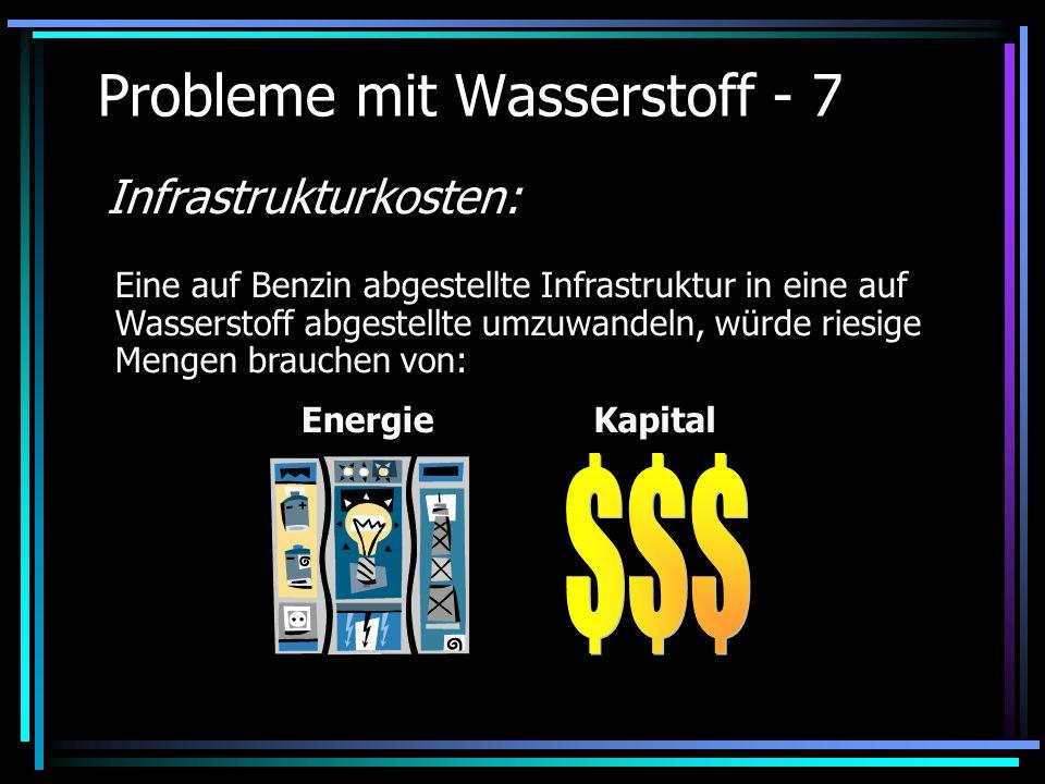 Probleme mit Wasserstoff - 7 Infrastrukturkosten: Eine auf Benzin abgestellte Infrastruktur in eine auf Wasserstoff abgestellte umzuwandeln, würde rie