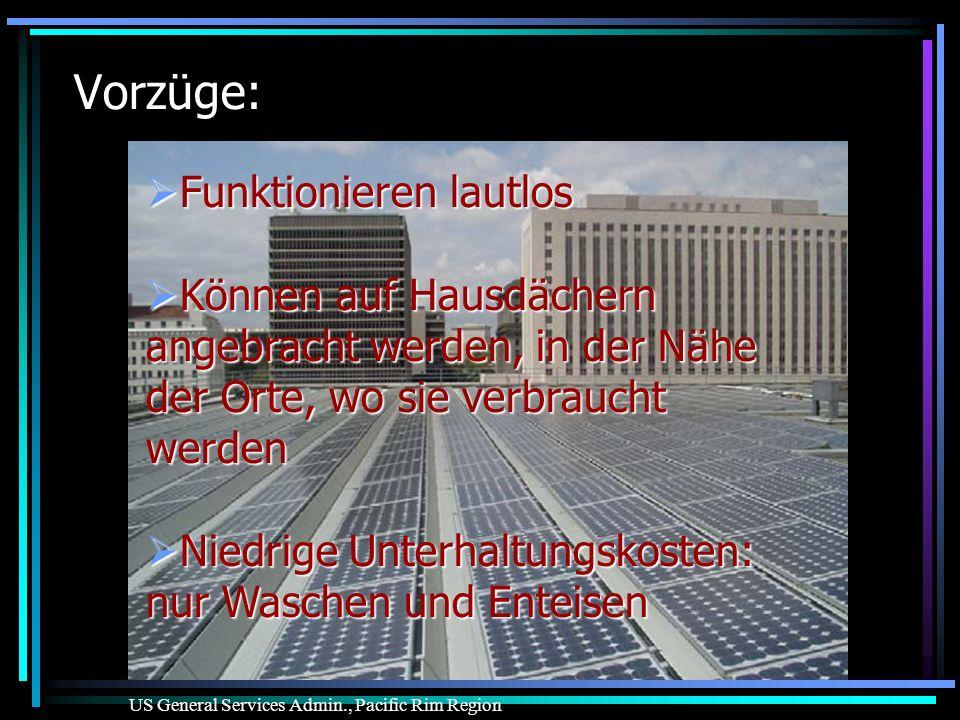 Vorzüge: Funktionieren lautlos Funktionieren lautlos Können auf Hausdächern angebracht werden, in der Nähe der Orte, wo sie verbraucht werden Können a