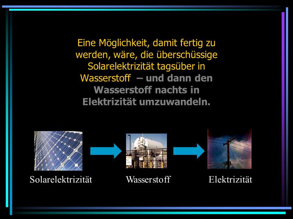 Eine Möglichkeit, damit fertig zu werden, wäre, die überschüssige Solarelektrizität tagsüber in Wasserstoff – und dann den Wasserstoff nachts in Elekt
