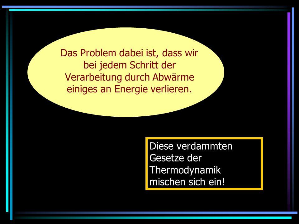 Das Problem dabei ist, dass wir bei jedem Schritt der Verarbeitung durch Abwärme einiges an Energie verlieren. Diese verdammten Gesetze der Thermodyna