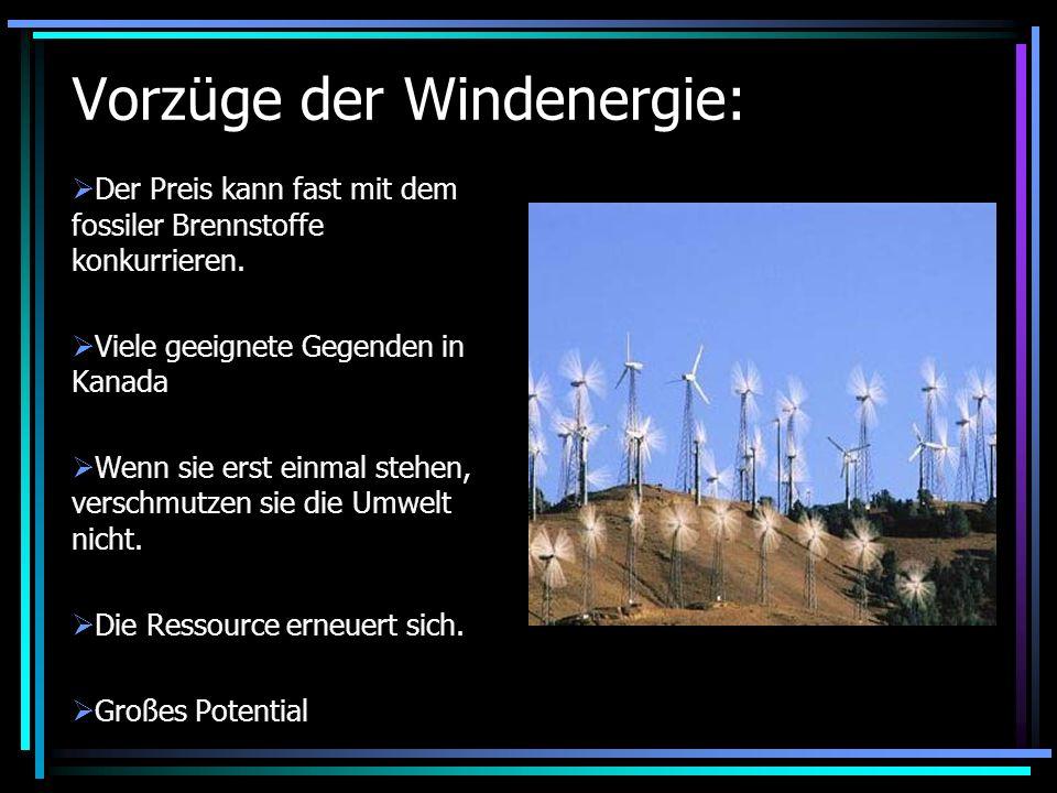 Vorzüge der Windenergie: Der Preis kann fast mit dem fossiler Brennstoffe konkurrieren. Viele geeignete Gegenden in Kanada Wenn sie erst einmal stehen