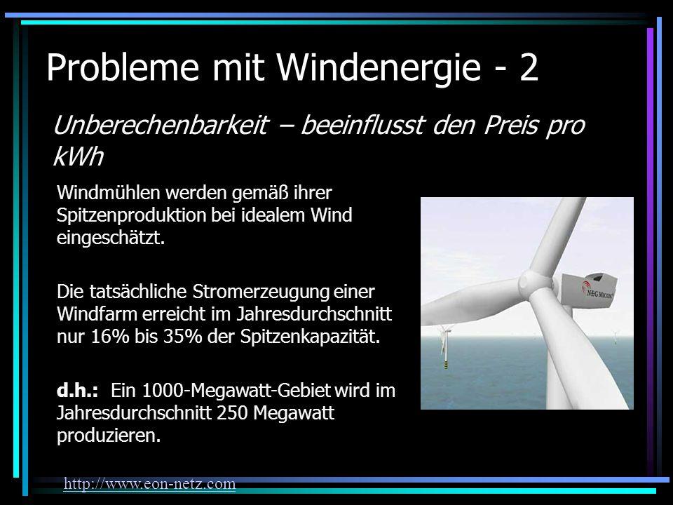 Probleme mit Windenergie - 2 Unberechenbarkeit – beeinflusst den Preis pro kWh Windmühlen werden gemäß ihrer Spitzenproduktion bei idealem Wind einges